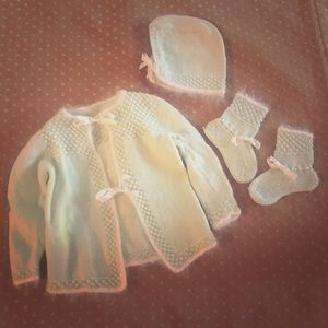 Vintage Newborn Knit Baby Sweater Booties Bonnet